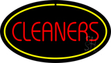 Red Cleaners Yellow Oval Border LED Neon Sign