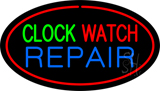 Clock Watch Repair Oval Red LED Neon Sign