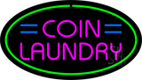 Pink Coin Laundry Oval Green Border LED Neon Sign