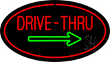 Drive-Thru Oval Red Green Arrow LED Neon Sign