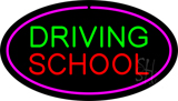 Driving School Purple Oval LED Neon Sign