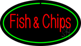 Oval Fish & Chips Green Border LED Neon Sign