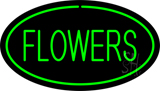 Oval Green Flowers LED Neon Sign