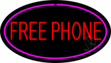 Free Phone Oval Pink LED Neon Sign