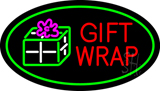 Gift Wrap Oval Green LED Neon Sign