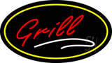 Grill Oval Yellow LED Neon Sign