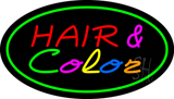 Hair and Color Oval Green LED Neon Sign