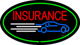 Red Insurance Oval Green LED Neon Sign