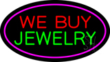 We Buy Jewelry Oval Purple Neon Sign