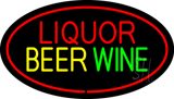 Liquor Beer Wine Oval Red LED Neon Sign