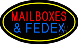 Mail Boxes and FedEx Oval Yellow Neon Sign