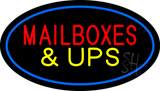Mail Boxes and UPS Oval Blue LED Neon Sign