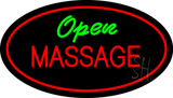 Open Massage Oval Red LED Neon Sign