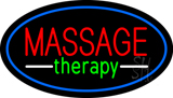 Oval Massage Therapy Blue Border LED Neon Sign