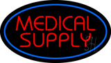 Red Medical Supply Oval Blue LED Neon Sign