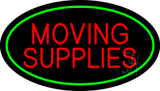 Moving Supplies Oval Green Neon Sign