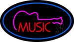 Music Oval Blue LED Neon Sign