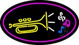 Trumpet Logo Oval Purple LED Neon Sign