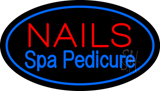 Nails Spa Pedicure Oval Blue LED Neon Sign