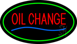 Oil Change Green Oval LED Neon Sign