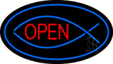 Fish Open Blue Oval LED Neon Sign