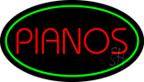 Pianos Oval Green LED Neon Sign