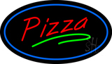Pizza Oval Blue Border LED Neon Sign