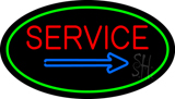 Red Service Oval Green LED Neon Sign