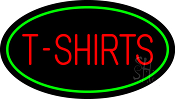T-Shirts Oval Green Neon Sign