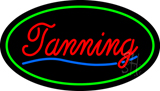 Red Tanning Oval Green LED Neon Sign