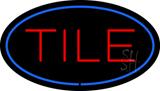 Tile Oval Blue LED Neon Sign