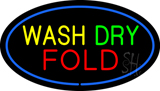 Wash Dry Fold Oval Blue Neon Sign