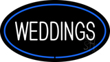 Weddings White Oval Blue Neon Sign