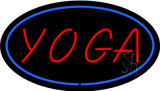 Oval Red Yoga Blue Border LED Neon Sign