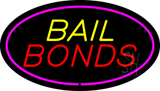 Yellow Bail Bonds Pink Oval Border LED Neon Sign
