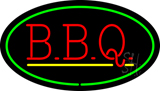 Oval Green BBQ with Yellow Line LED Neon Sign