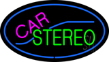 Oval Car Stereo with Blue Border LED Neon Sign