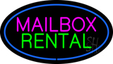 Mailbox Rental Blue Oval LED Neon Sign