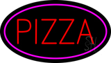 Oval Red Pizza with Pink Border LED Neon Sign