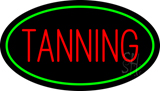 Red Tanning with Oval Green Border LED Neon Sign