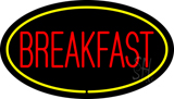 Oval Red Breakfast with Yellow Border LED Neon Sign
