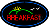 Oval Breakfast with Blue Border LED Neon Sign