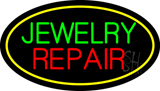 Jewelry Repair Oval Yellow LED Neon Sign