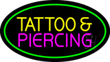 Oval Tattoo and Piercing Green Border LED Neon Sign