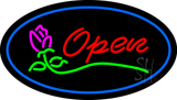 Oval Open Rose Blue Border LED Neon Sign