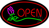 Red Open Rose Neon Sign