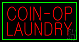 Coin-Op Laundry Green Border LED Neon Sign