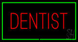 Red Dentist Green Border LED Neon Sign