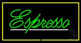 Green Cursive Espresso Rectangle Yellow LED Neon Sign