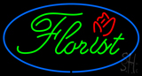 Green Florist Oval Blue Border LED Neon Sign